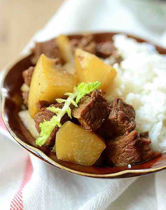 white turnip beef stew