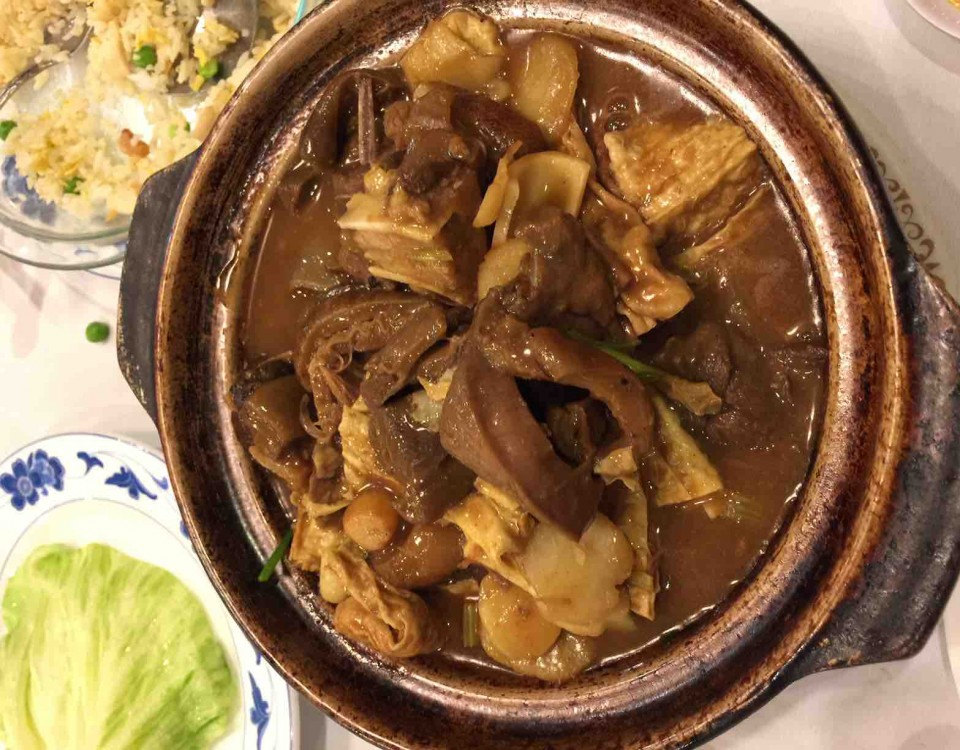 yzenith chinese food recipe- lamb with dry tofu skin clay pot